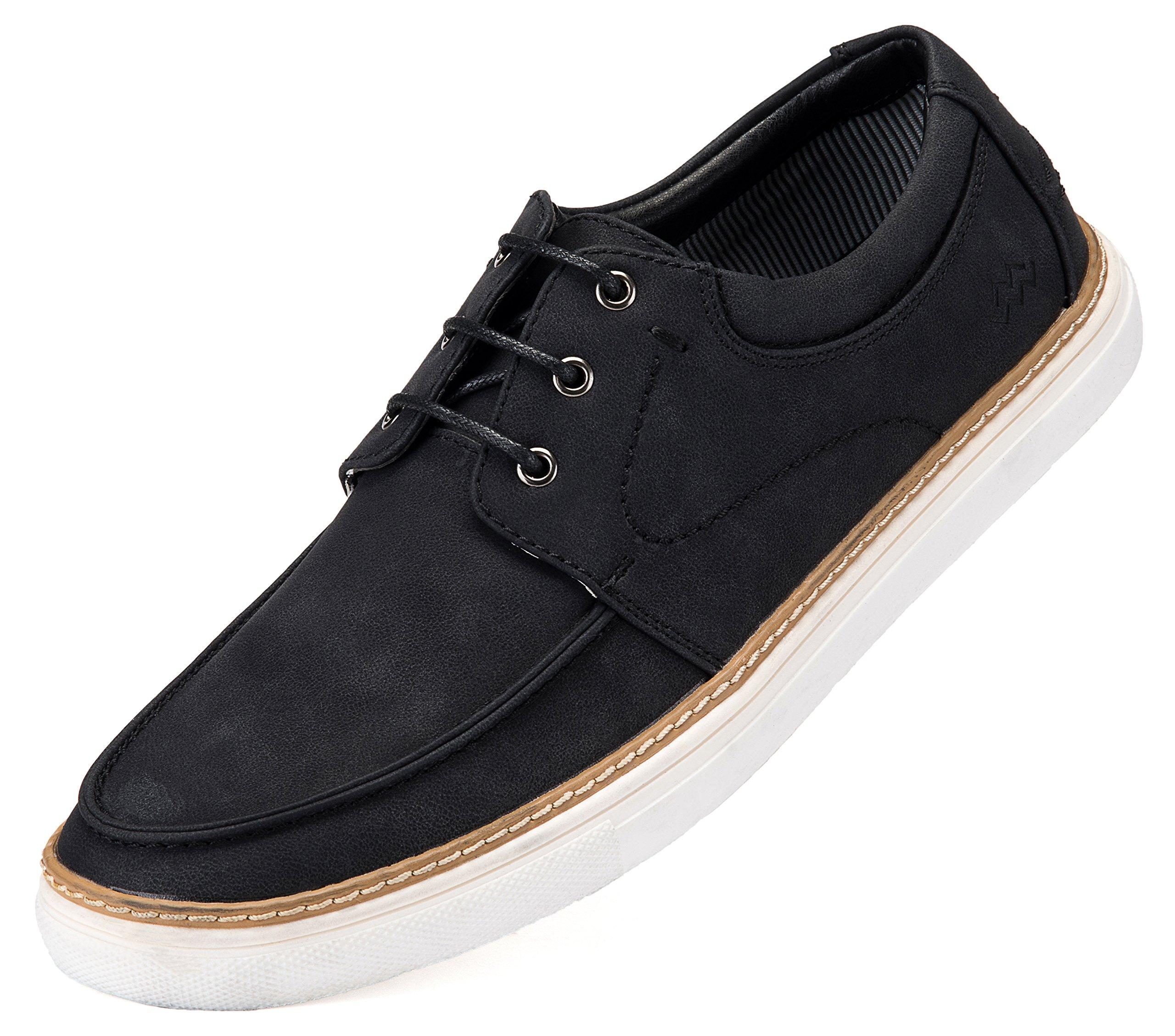 Mio Marino Mens Boat Shoes - Comfortable Fashion Sneakers - Black - Size US 12 | UK 11.5 | EU 45