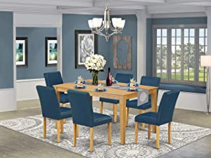 "East West Furniture 7Pc Rectangle 60"" Dining Table And 6 Parson Chair With Oak Leg And Pu Leather Color Oasis, 7"