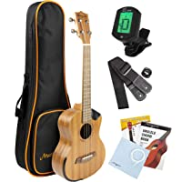Martin Smith Sapele Wood Tenor Ukulele Starter Kit with Aqulia Strings – Includes online lessons, tuner, bag, strap and spare strings.