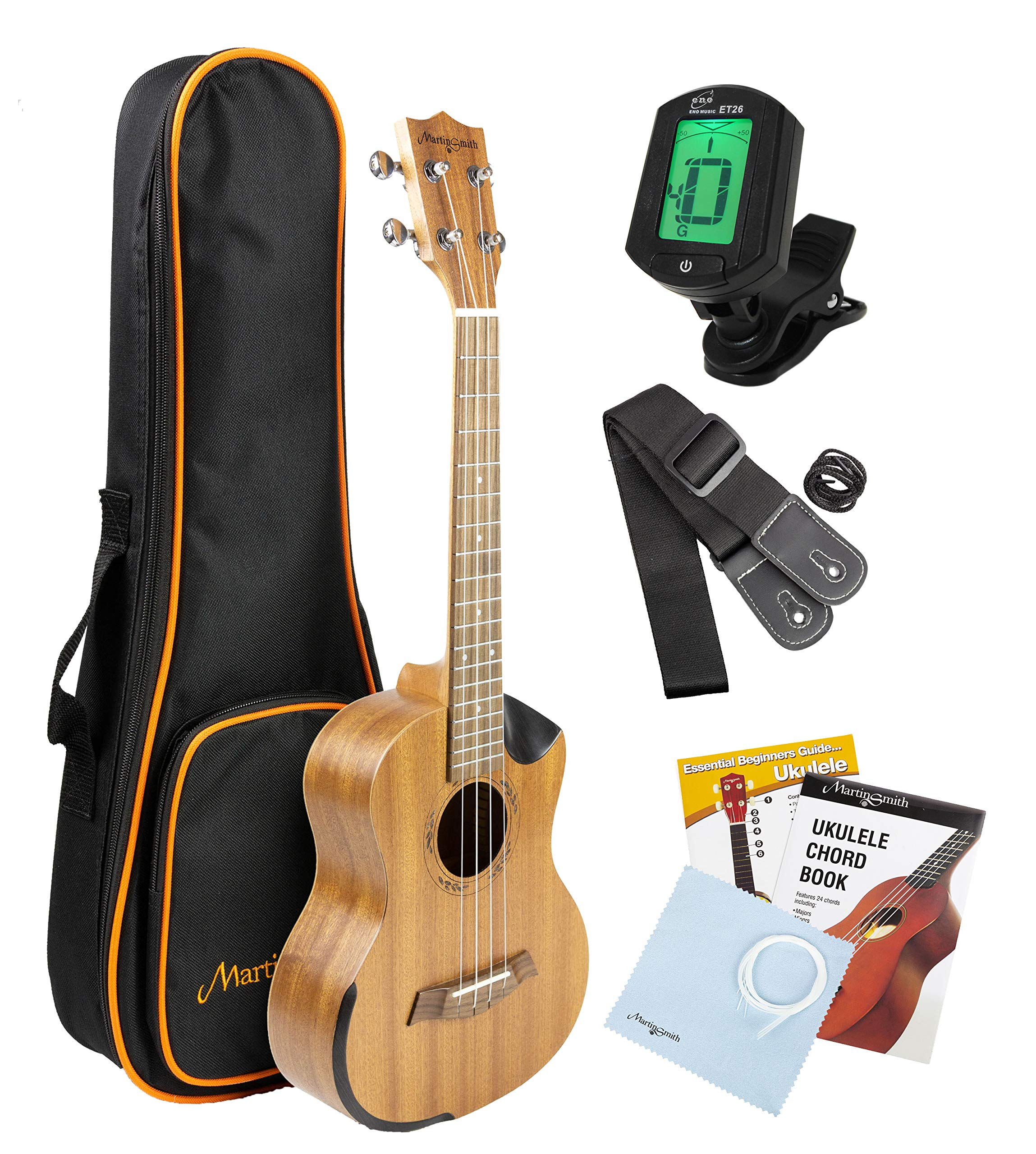 Martin Smith Tenor Ukulele Starter Kit with Aquila Strings - Includes Online Lessons, Tuner, Bag, Strap & Spare Strings