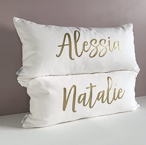 Relatively Amazon.com: Personalized Luxe Name Pillow. White & Gold Throw  IC35