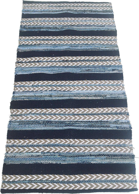 "Chardin Home Designer rag (chindi) Rug 'City' - Eco Friendly Recycled Cotton Denim Reversible Runner Rug, Navy, Denim Blue/White, Size 2'x8""."