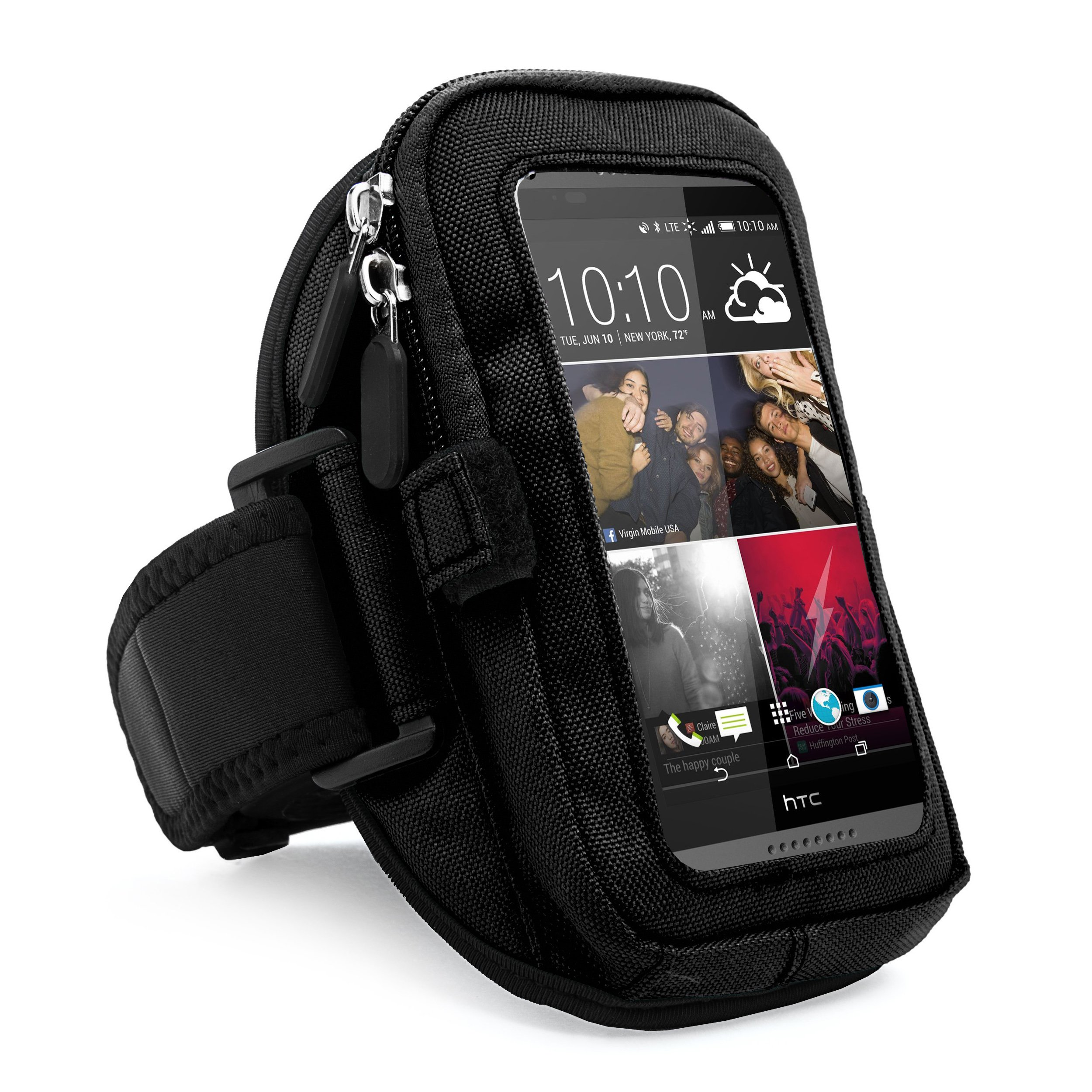 VanGoddy zippered Sport Case Cover Gym Running Armband with removable strap & card / key holder for HTC One M9 / Desire 816 / 816w / 820U Fit 4.7 to 5.5 inch Ios Android Windows smart Phone (Black)