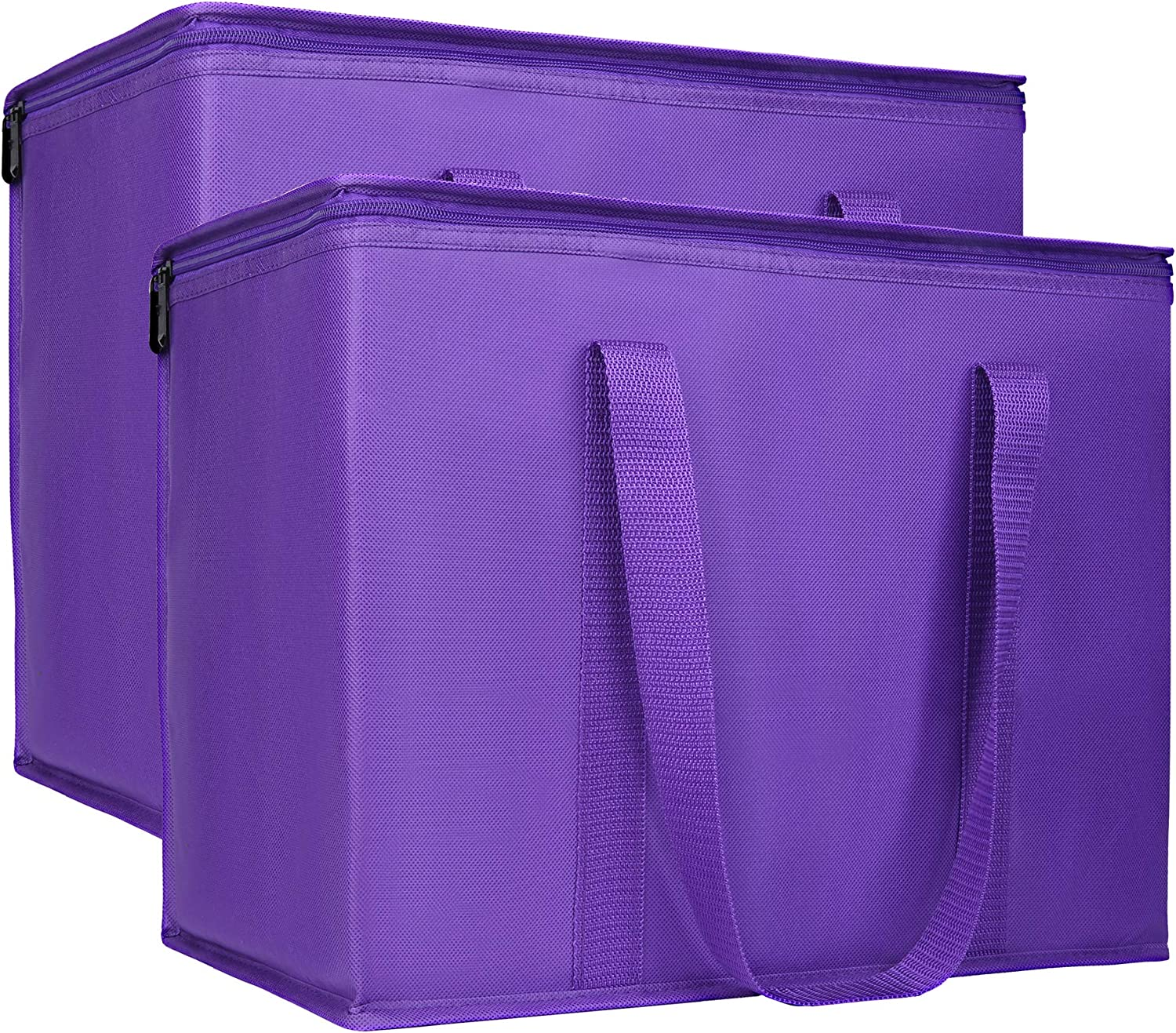 2 Insulated Reusable Grocery Bag with Zippered Top, XL, Large, Frozen Foods Cold, Cooler Shopping Accessories, Insullated Bags, Purple