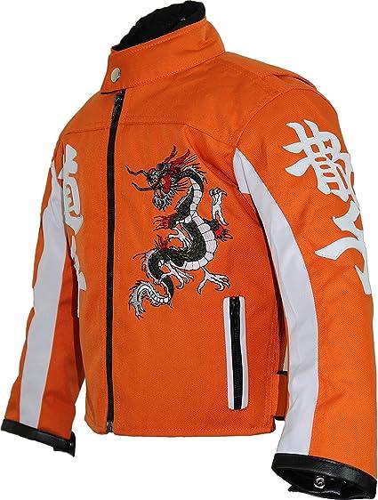 Mdm Kinder Motorrad Jacke In Orange Bekleidung