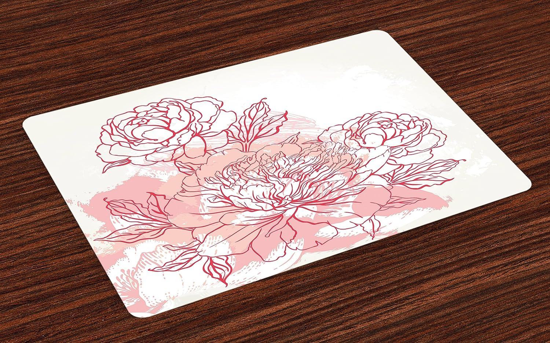 lunarableピンクPlaceマットのセット4 , Hand DrawnスタイルBouquet of Peonies Nature Inspired Artistic表示Romanticグランジ、洗濯可能ファブリックプレースマットダイニングルームキッチンのテーブル装飾、コーラルピンク   B07C52TX3K
