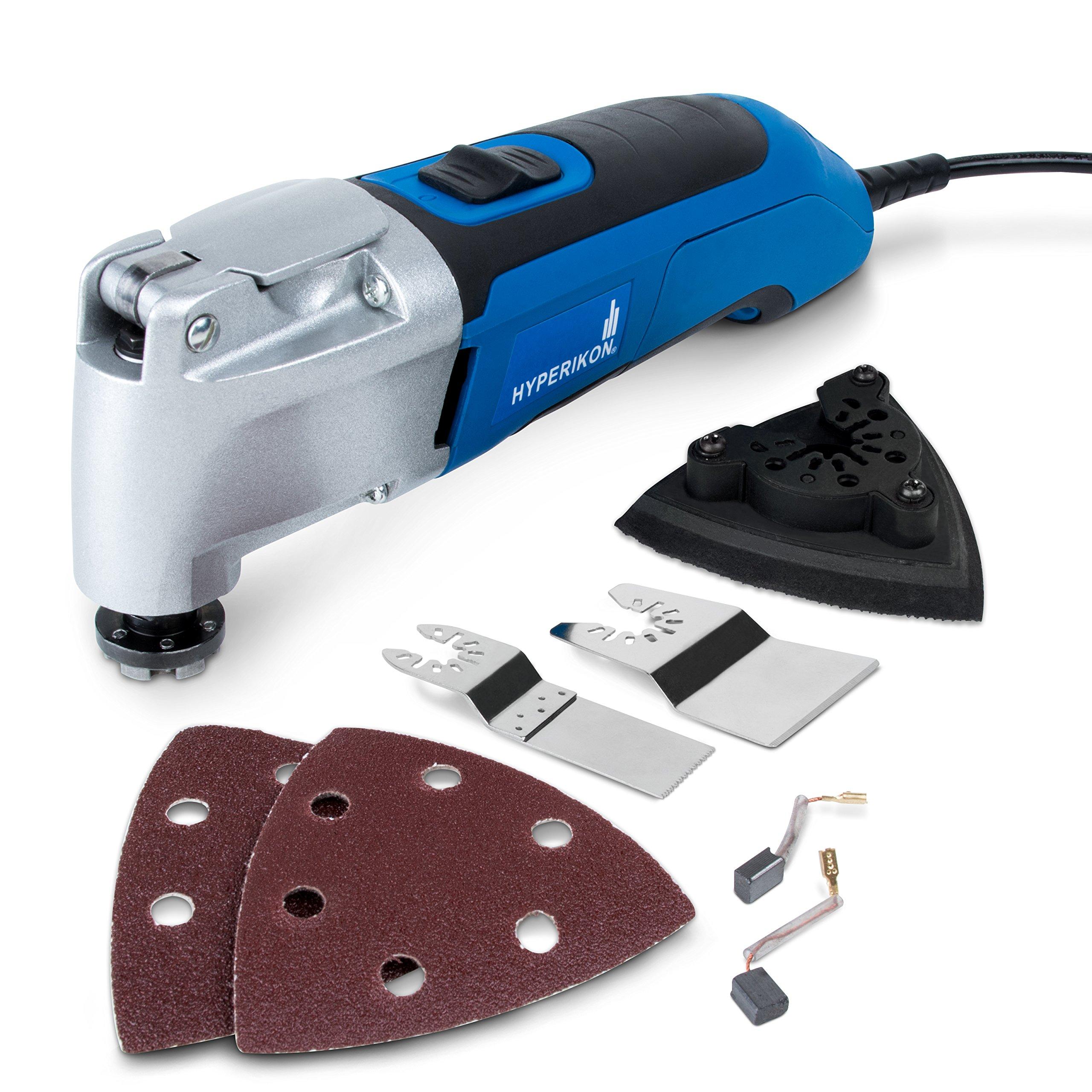 Hyperikon Oscillating Tool Variable Speed, Multipurpose Kit, 120V, 2.5 Amp Power Oscillating Multi-Tool Kit Corded - Quick Release Blade Replacement, Case, Scraper, Blade, Sanding Pad, Sanding Paper
