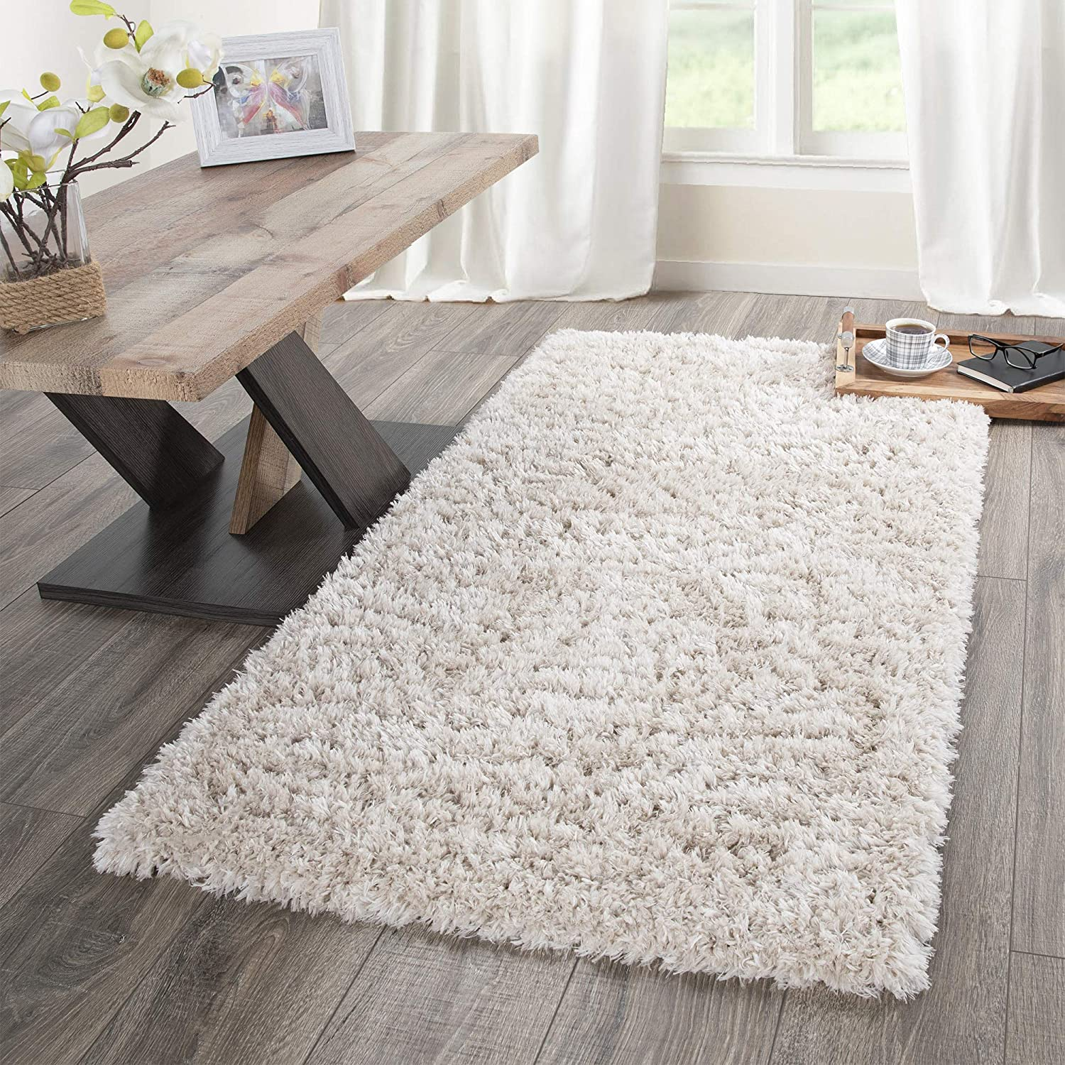 Sweet Home Stores SFFR1001-3X5 Flokati Collection Shag Runner Rug, 2'7