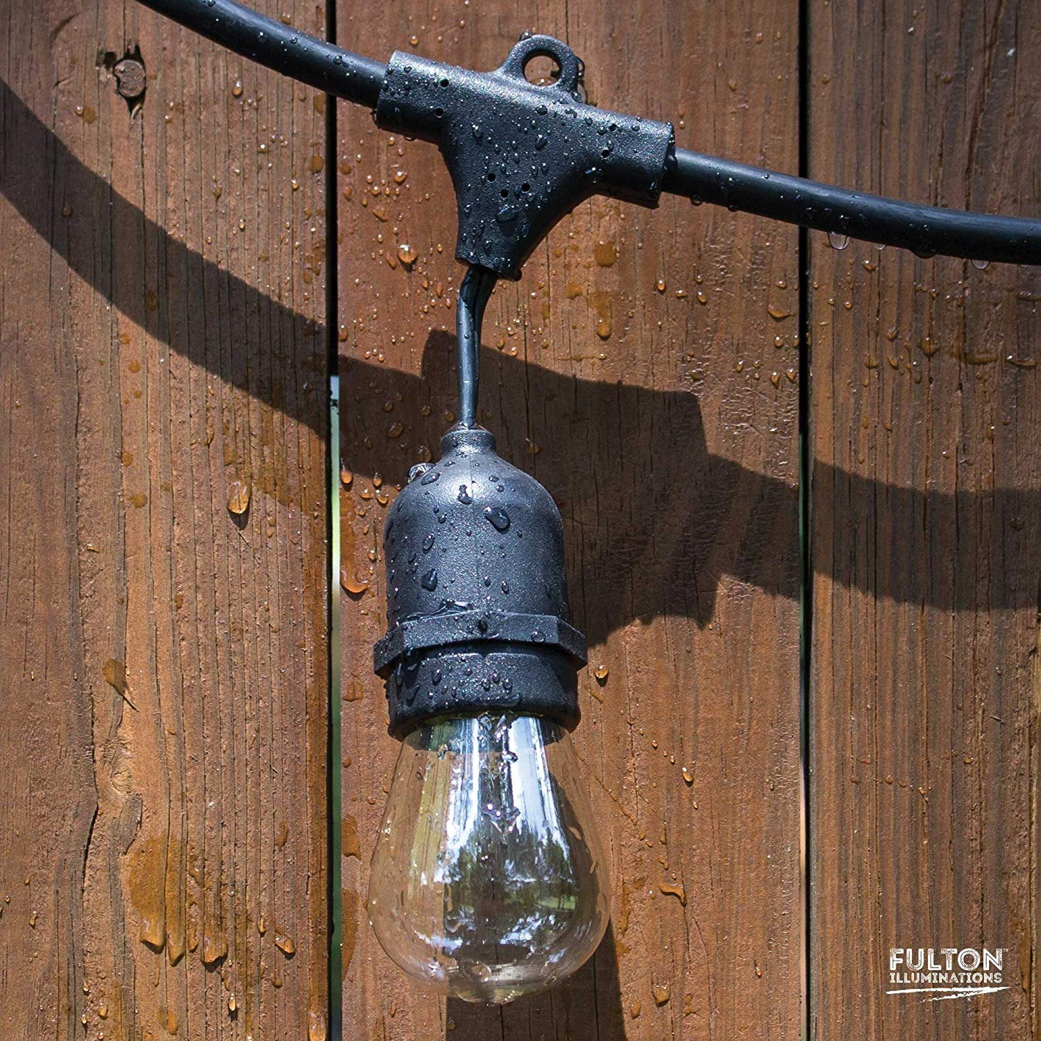 Fulton Illuminations S14 24 Bulbs Outdoor String Lights with 6 Extra Bulbs and 13 Ft Extension Cord, 48 Feet - Commercial Weatherproof Patio String Lights by Fulton Illuminations (Image #9)