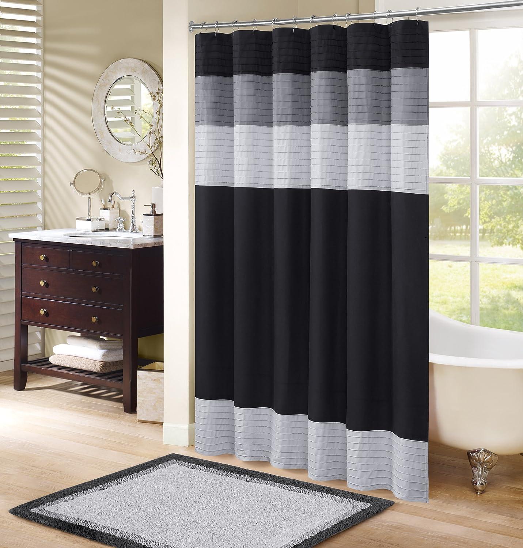 Amazon Com Comfort Spaces Windsor Bathroom Shower Pieced Ruffle Pattern Modern Elegant Microfiber Fabric Bath Curtains 72 X72 Black Grey Home Kitchen