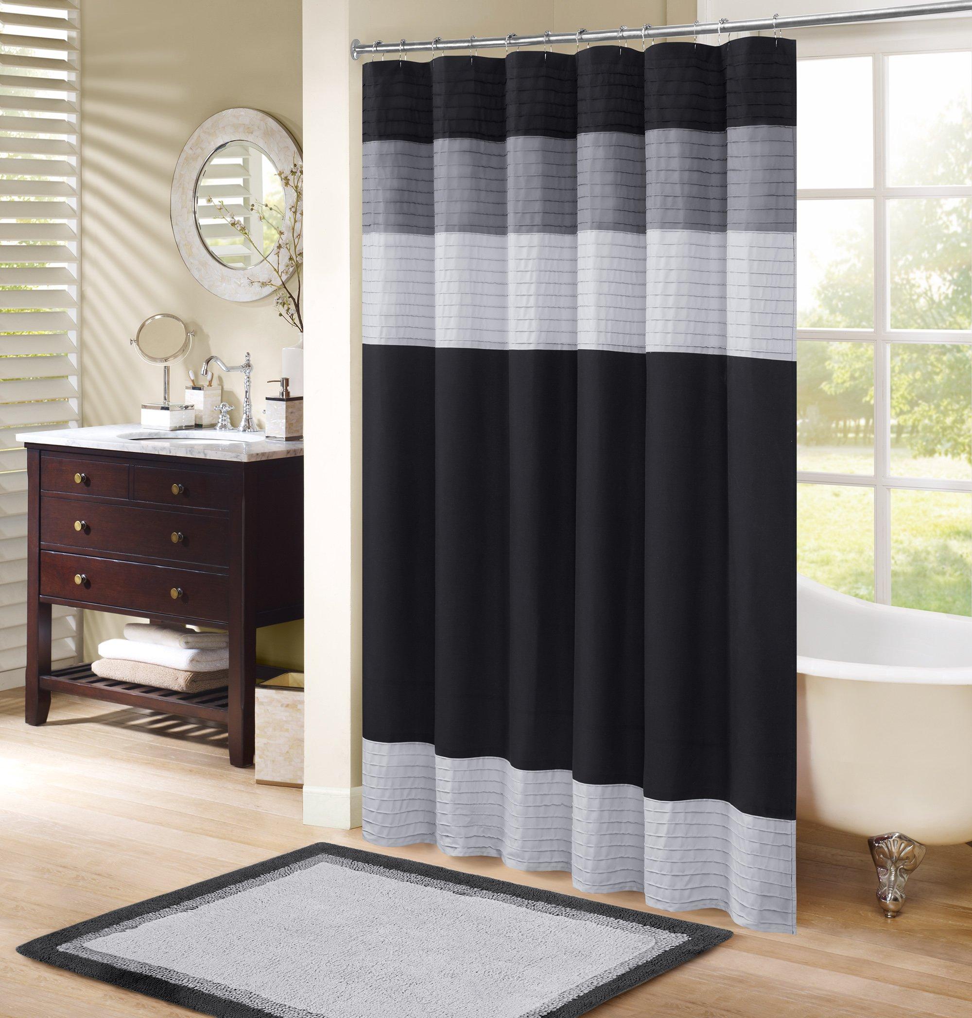 Comfort Spaces Windsor Bathroom Shower Pieced Ruffle Pattern Modern Elegant Microfiber Fabric Bath Curtains, 72''x72'', Black Grey by Comfort Spaces