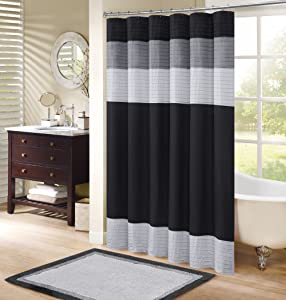 Comfort Spaces – Windsor Shower Curtain – Black - Grey – Panel Design - 72x72 inches