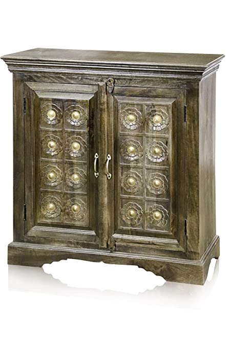 Attrayant Stylecraft ISF24482 Two Door Cabinet In Solid Mango Wood With Brass Hardware