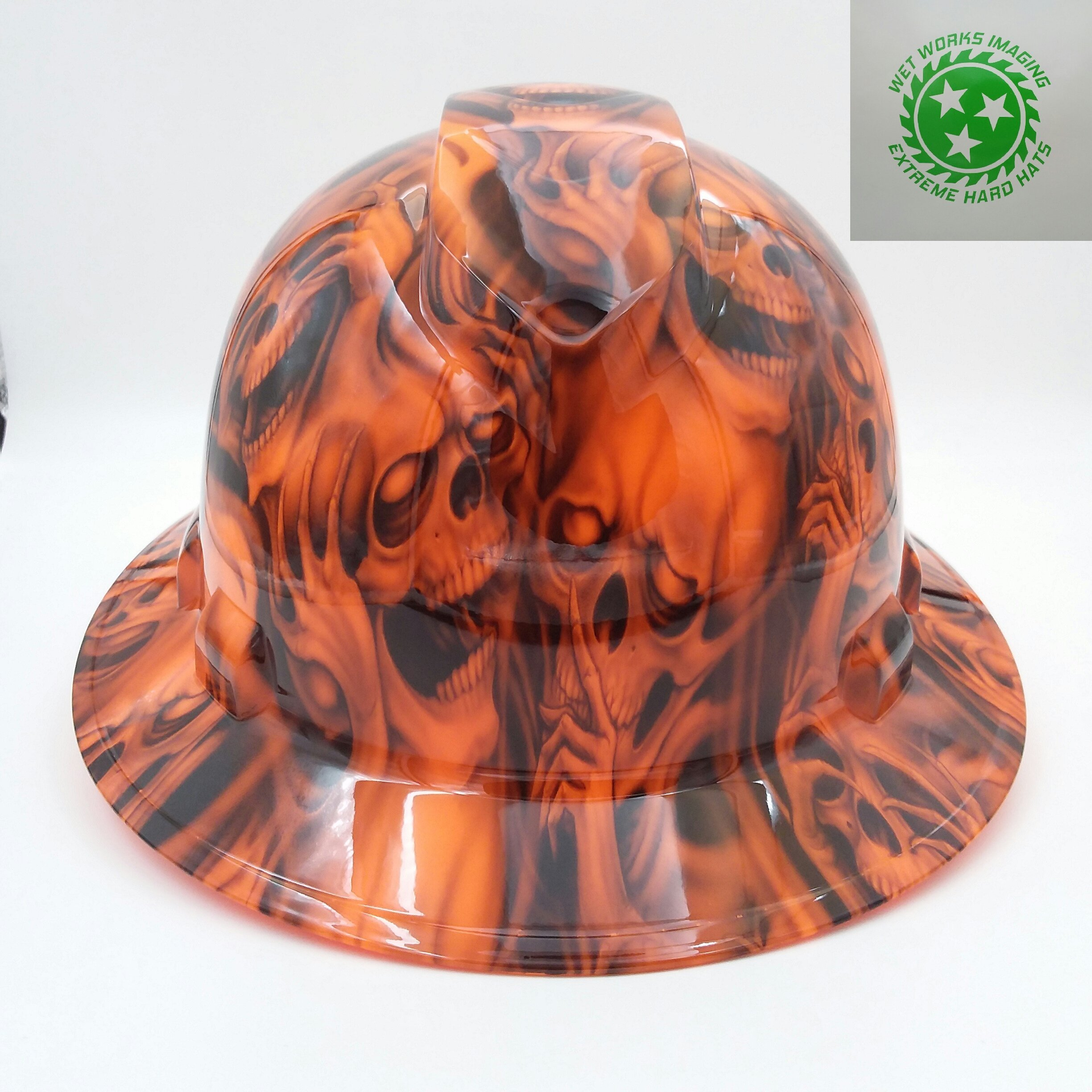 Wet Works Imaging Customized Pyramex Full Brim Orange See No Evil Skulls Hard Hat With Ratcheting Suspension by Wet Works Imaging