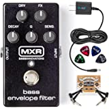MXR M82 Bass Envelope Filter Pedal BUNDLED WITH Blucoil Power Supply Slim AC/DC Adapter for 9 Volt DC 670mA, 2 Pack of Pedal Patch Cables AND 4 Celluloid Guitar Picks