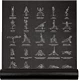 "NewMe Fitness Instructional Yoga Mat Printed w/ 70 Illustrated Poses, 24"" Wide x 68"" Long"