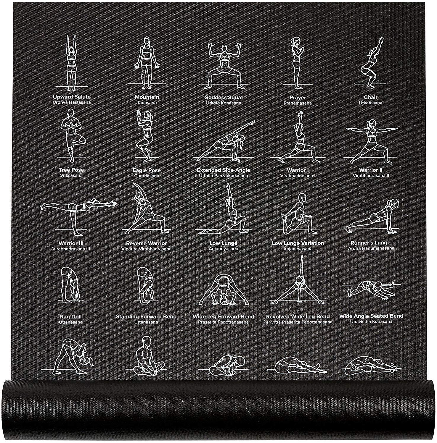 NewMe Fitness Instructional Yoga Mat Printed w 70 Illustrated Poses, 24 Wide x 68 Long