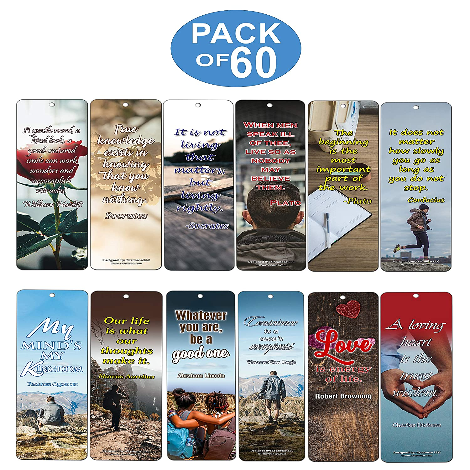 Amazon Daily Inspirational Quotes Bookmarks Cards 60 Pack