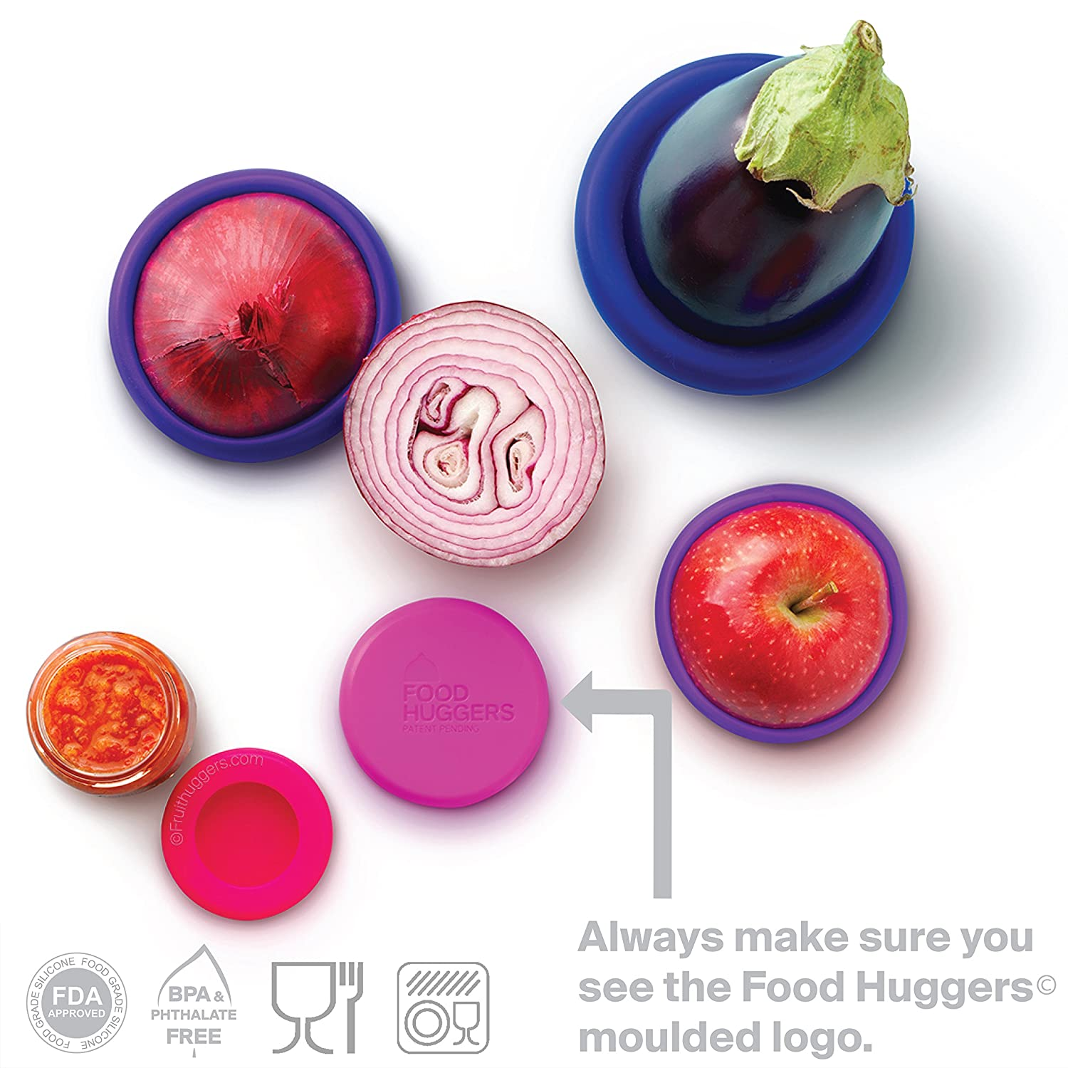 Food Huggers Reusable Silicone Food Savers Set Of Five (Bright Berry) by Food Huggers