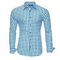 Kayhan Herren Hemd Slim-Fit Langarm Hemden Freizeit Arbeit Super Qualität Doppelfarbig Trachten Oktoberfest S - 6XL