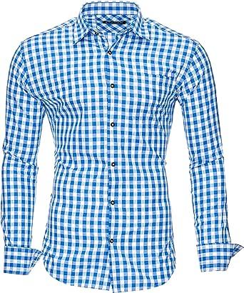 Kayhan Camisas Hombres Camisa Hombre Manga Larga Ropa Camisas de Vestir Slim fácil de Hierro Fit S M L XL XXL-6X - Modello Oktoberfest Camisa Cuadros