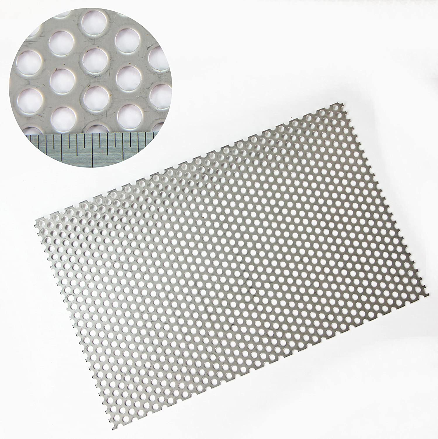 5mm Hole x 8mm Pitch x 1mm Thickness Round SS304 Perforated Mesh Sheet - A4 Sheet - 210 x 300mm Sheet The Mesh Company