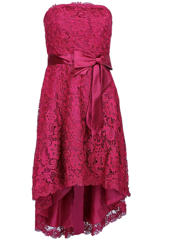 Elegantes Vokuhila Kleid Partykleid 2603 mit Stola und Träger weinrot Gr. 34 - 56