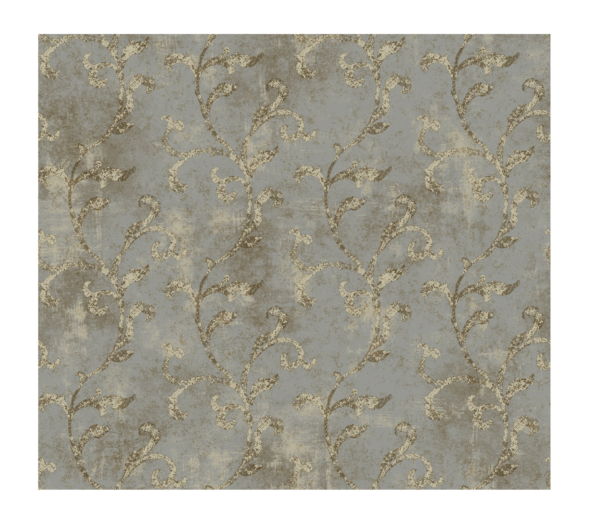 York Wallcoverings GL4604SMP Brandywine Textured Scroll 8-Inch x 10-Inch Wallpaper Memo Sample, Platinum/Fawn Beige/Antique Ivory/Bronze