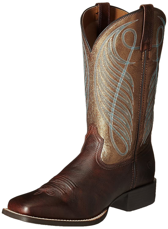 Ariat Women's Round up Wide Square Toe Western Cowboy Boot B00U9XVV92 8 B(M) US|Yukon Brown/Bronze