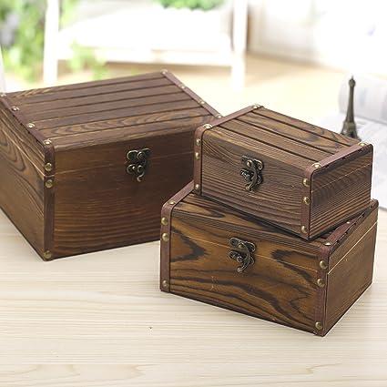 Delightful Set Of 3 Vintage Style Wood Decorative Nesting Boxes, Jewelry U0026 Trinket  Storage Chests With