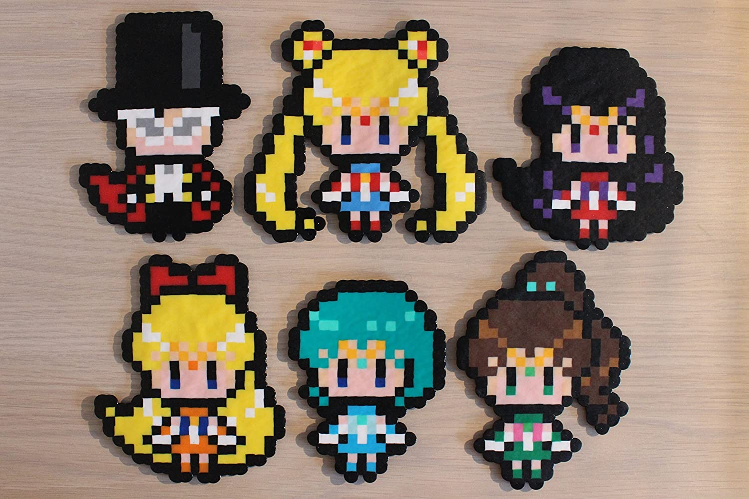 Sailor Moon Pixel Art Bead Sprites from the Sailor Moon Series