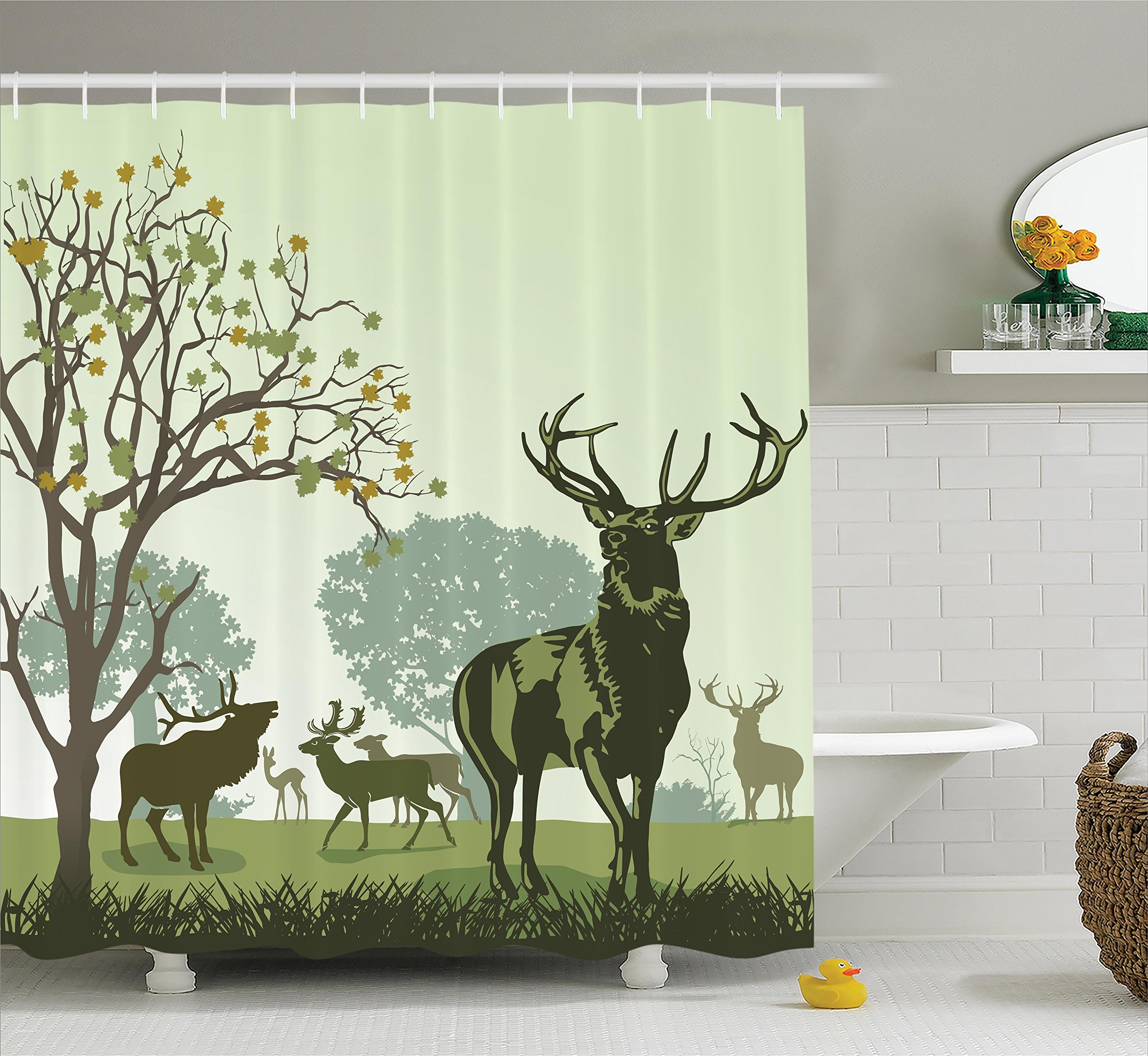 Ambesonne Antlers Decor Shower Curtain Set Deer And Wildlife In Park World Natural Heritage Forest Areas Reindeer Bathroom Accessories 75 Inches Long