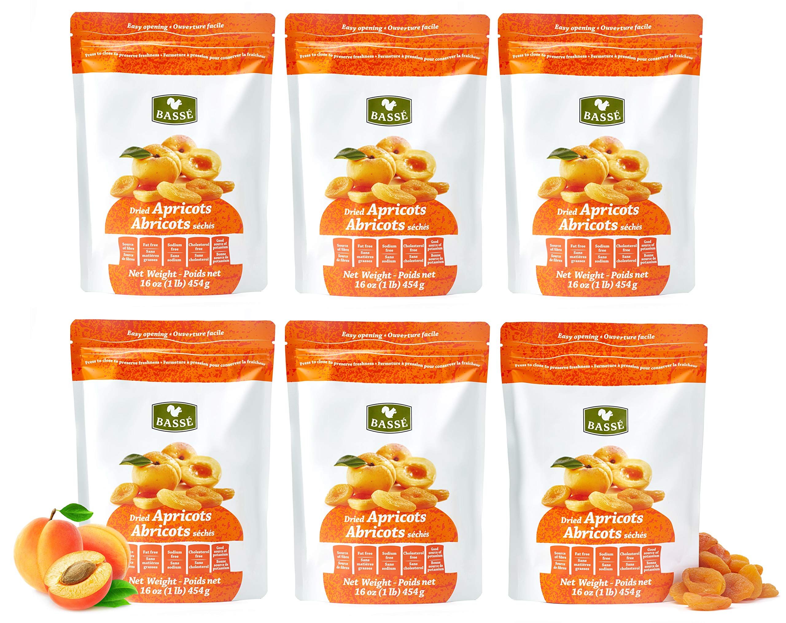 Basse Dried Fruits Unsweetened Turkish Apricots in a Resealable Bag 6 lb