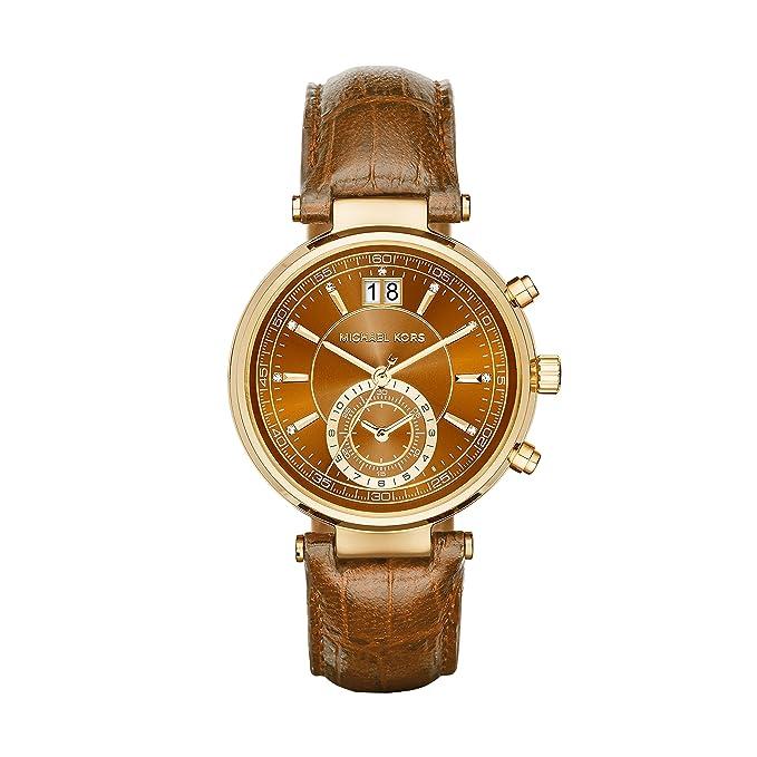 Michael Kors Sawyer - Reloj análogico de cuarzo con correa de cuero para mujer, color marrón: Amazon.es: Relojes