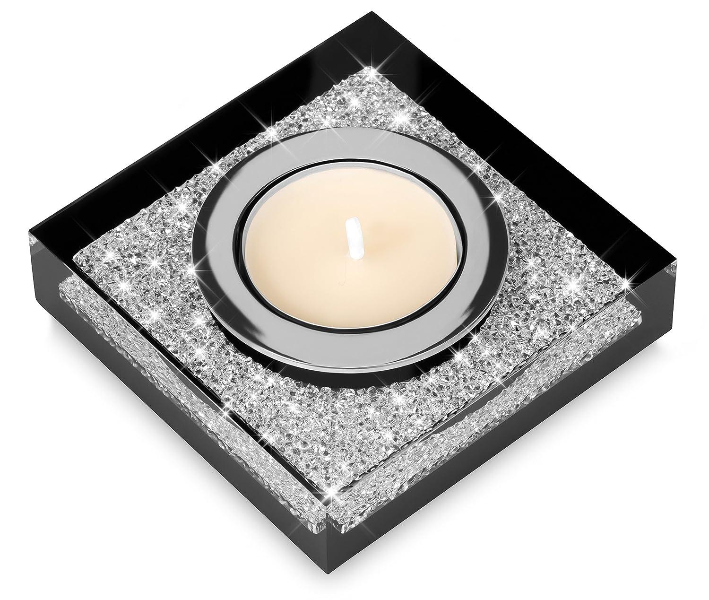 Elegante portacandele Lotus 1 con cristalli SWAROVSKI ELEMENTS – una luminosa decorazione da tavolo (nero) Implexions by connexion