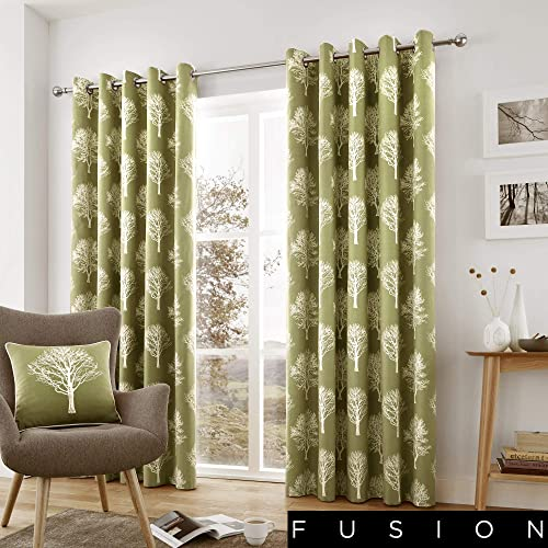 Fusion Pair of Woodland Trees Lined Window Curtain Drapes – Grommet Top – Green – 90 Wide x 90 Drop