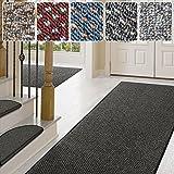 Teppich / Läufer in zahlreichen Größen | anthrazit, gepunktet | Qualitätsprodukt aus Deutschland | Teppichläufer mit GUT Siegel | Küchenläufer, Flurläufer (66x150 cm)