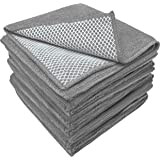 S&T INC. Microfiber Dish Cloths for Washing Dishes, Microfiber Cleaning Cloths for Kitchen Cleaning With Poly Scour Scrubbing