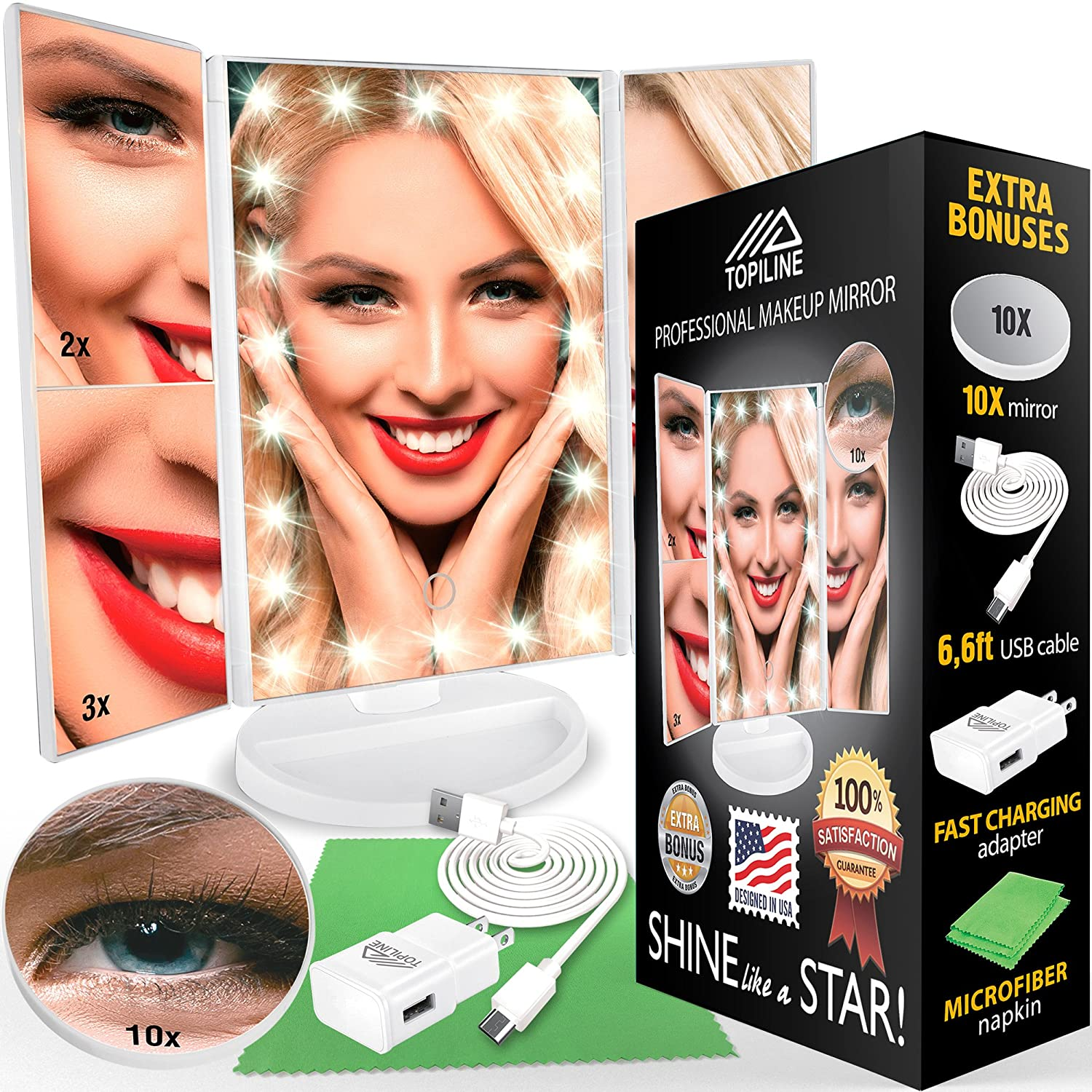 Lighted Makeup Mirror with Lights - Makeup Vanity Mirror with Lights and Magnification - Make up Mirrors Lighted Magnifying - Portable Trifold Cosmetic Mirror with Long 6.6ft USB Cable and Charger TOPILINE