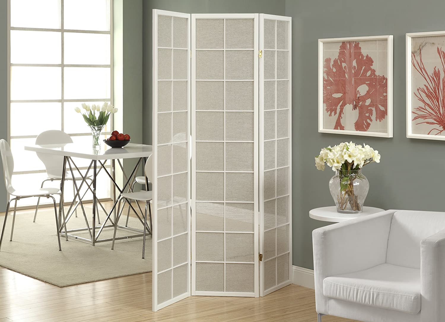 Monarch Specialties Framed 3-Panel Folding Screen with Fabric Inlay, White I 4633