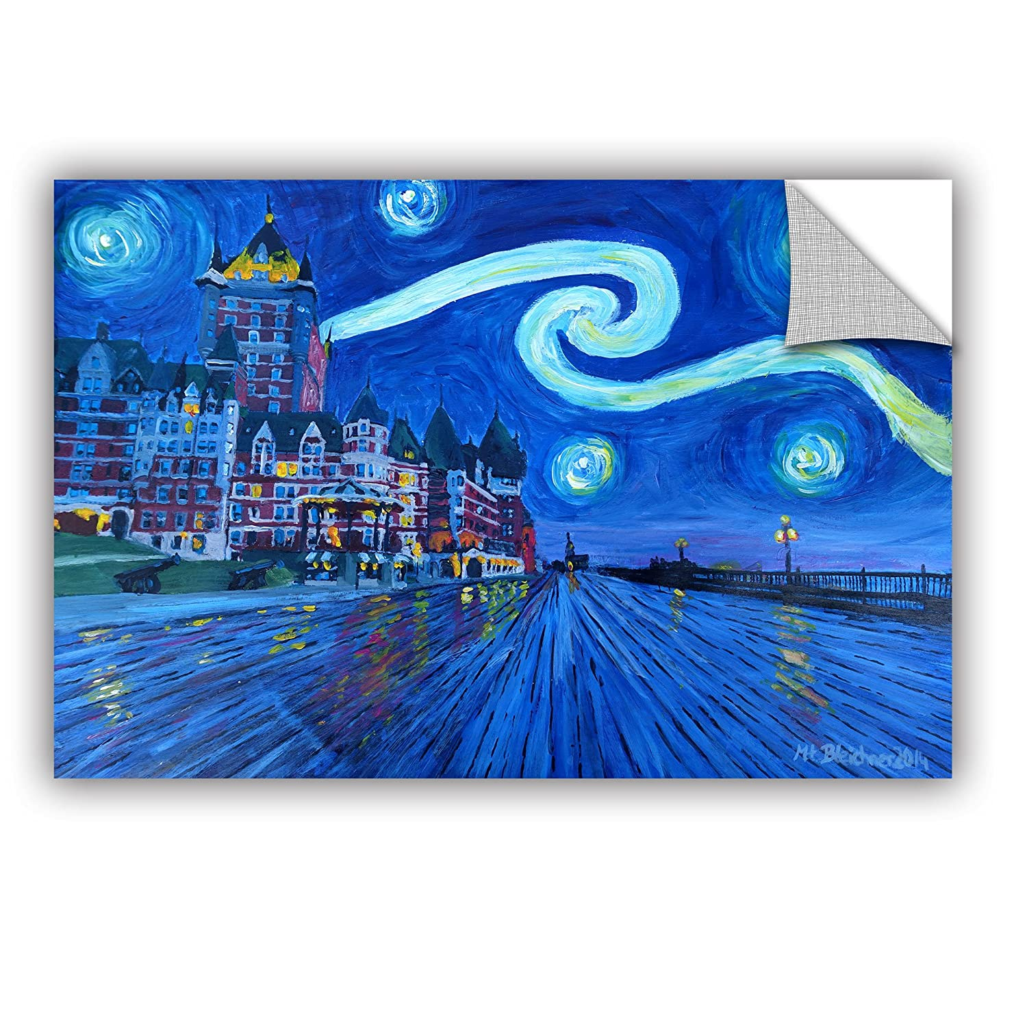 Marcus//Martina Bleichner Starry Night Quebec Chateau Frontenac Removable Wall Art Mural 12X18