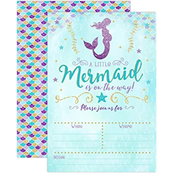 Amazon mermaid girl baby shower invitation fill in style 10 mermaid baby shower invitation blue and gold mermaid baby shower baby sprinkle invite 20 fill in invitations and envelopes filmwisefo