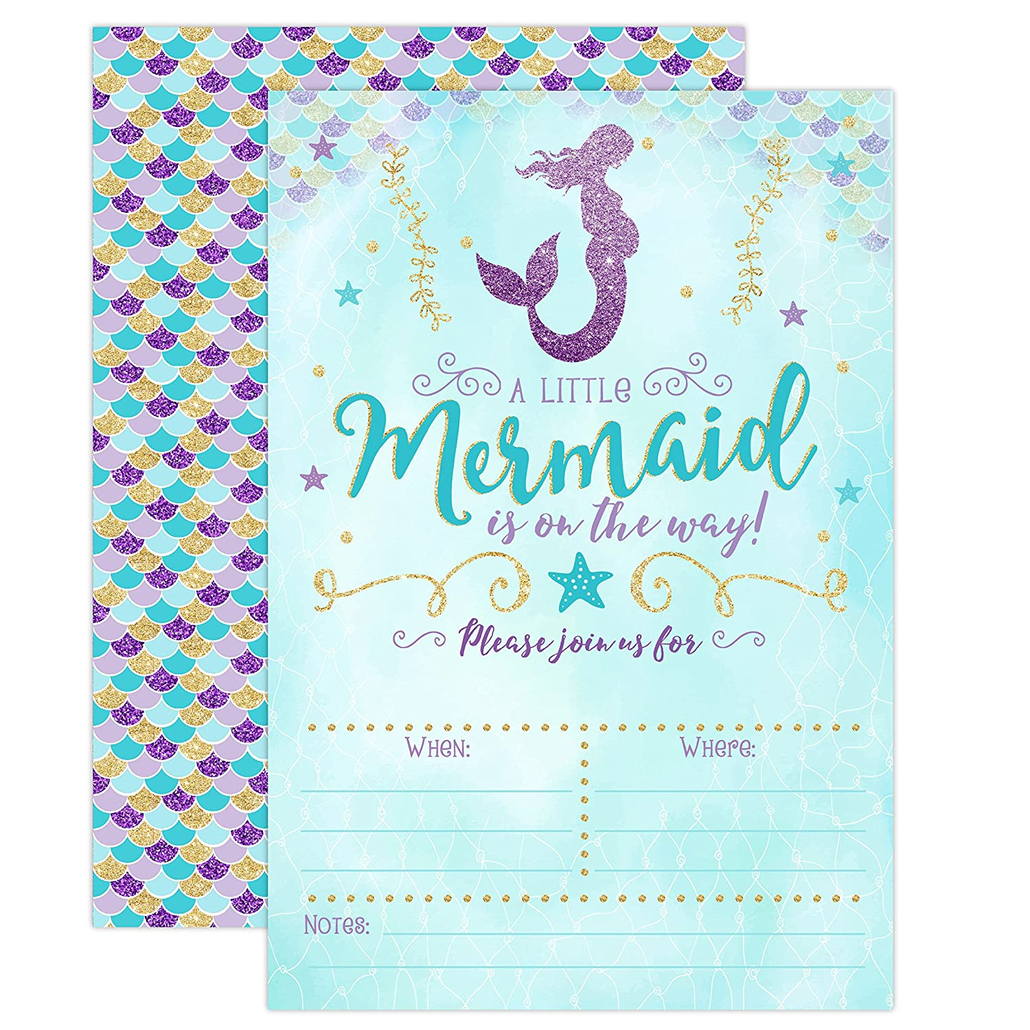 Mermaid Baby Shower Invitation, Blue and Gold Mermaid Baby Shower, Baby Sprinkle Invite, 20 Fill in Invitations and Envelopes