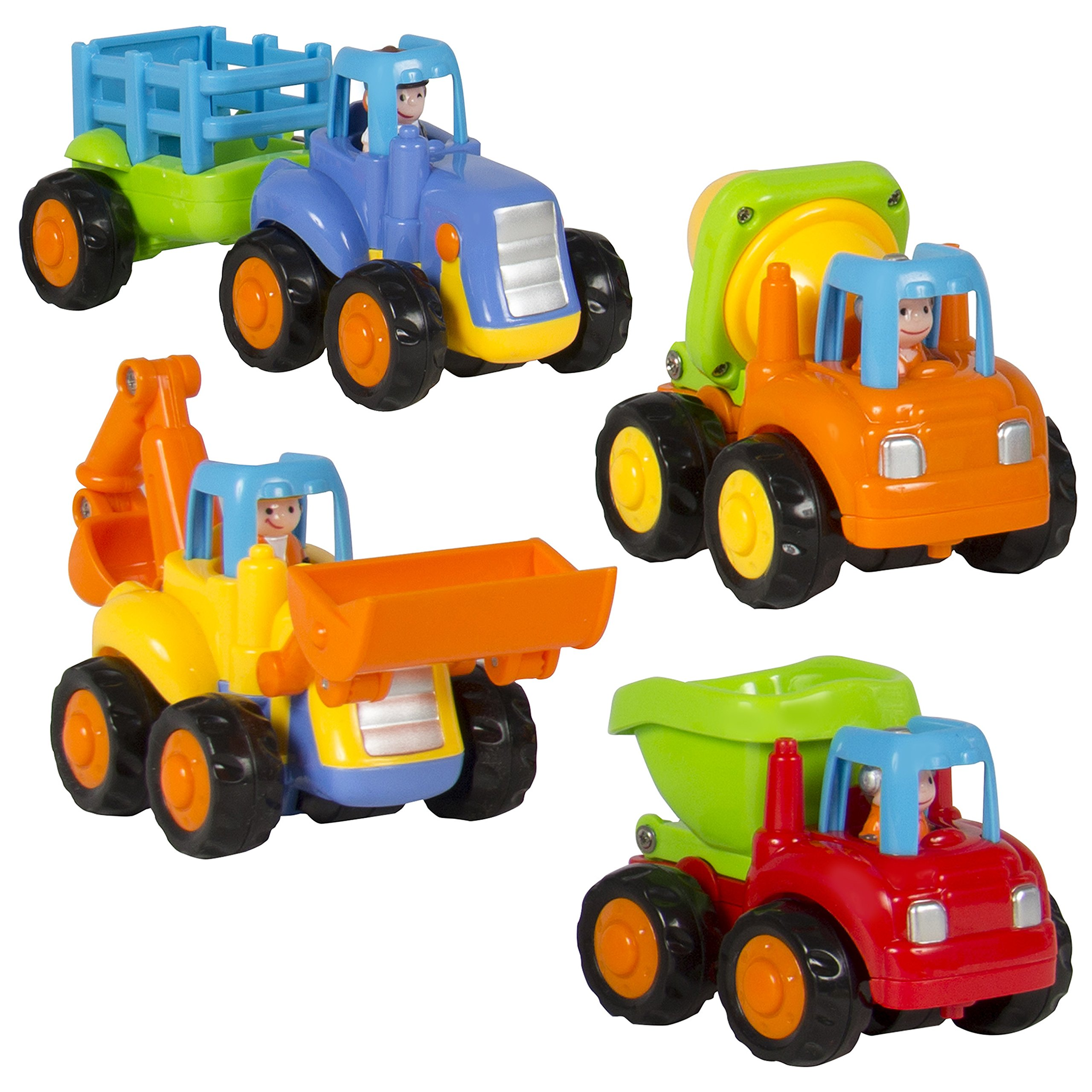 Best Choice Products Set of 4 Push and Go Friction Powered Car Toys, Tractor, Bulldozer, Cement Mixer, and Dump Truck Play Set