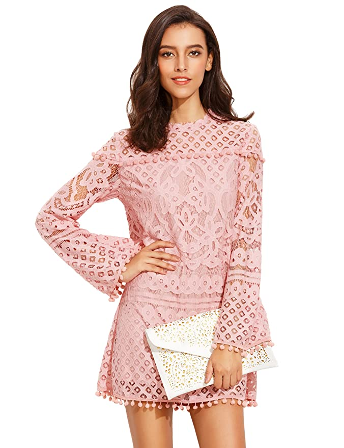 0b0f578f16aa SheIn Women's Crochet Pom-Pom Sheer Lace Bell Sleeve Dress at Amazon Women's  Clothing store: