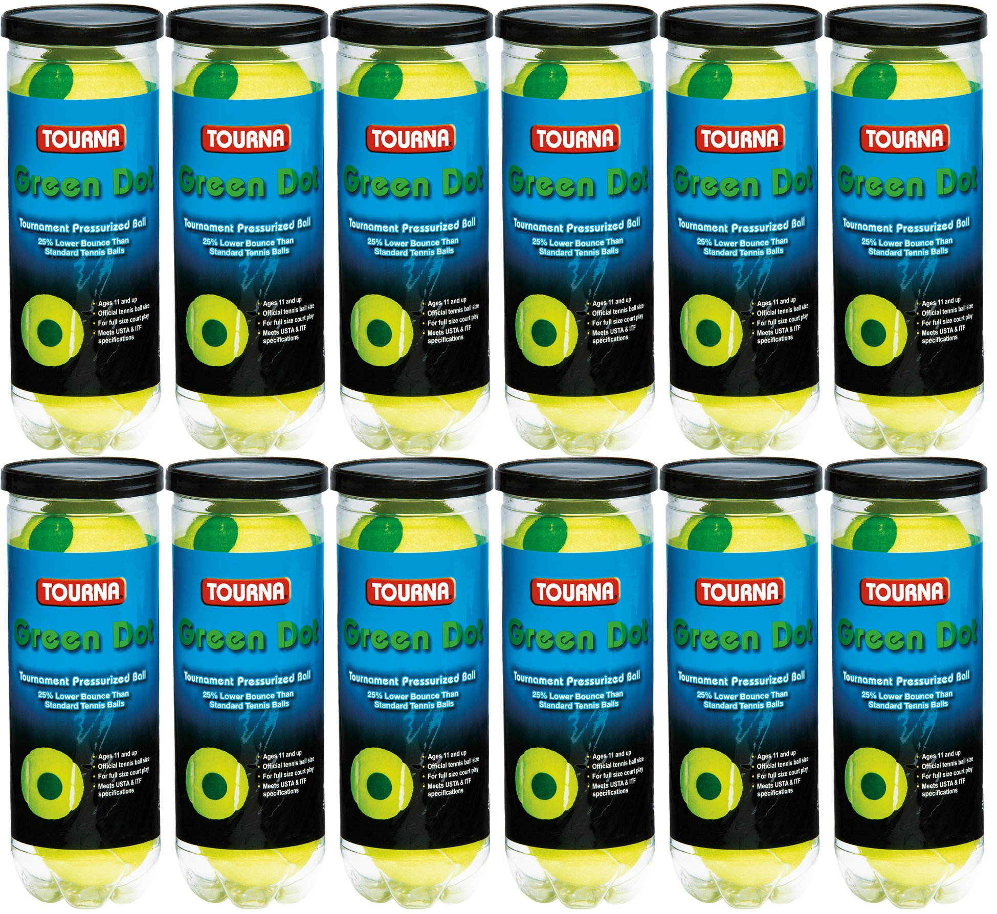 Tourna 12 Pack Pressurized Green Dot Tennis Balls in a Pressurized Can by Tourna