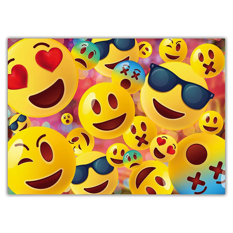 Partie f/ête Cartons dinvitation en Fran/çais Emoji Lets Party Lot de 12 Cartes dinvitation pour Anniversaire