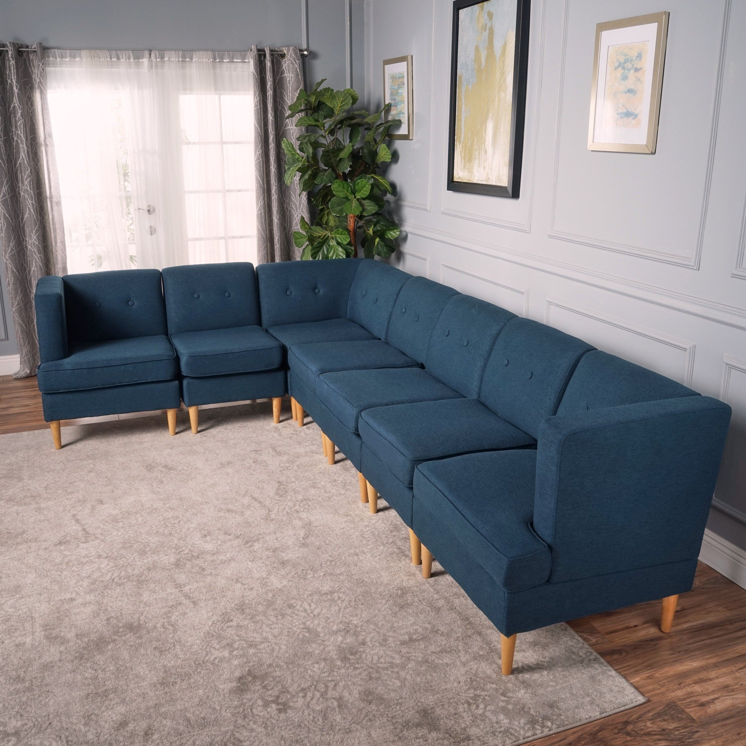 Groovy Christopher Knight Home 301874 Milton Mid Century Modern Sectional Sofa Set Navy Blue Natural Unemploymentrelief Wooden Chair Designs For Living Room Unemploymentrelieforg