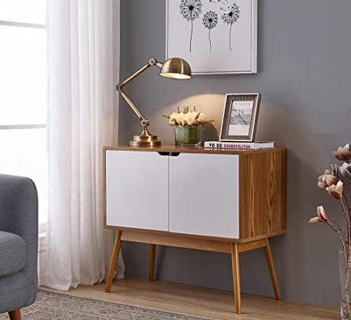 White Woodgrain Mid-Century Style Console Sofa Table Storage Cabinet Sideboard with 2 Doors