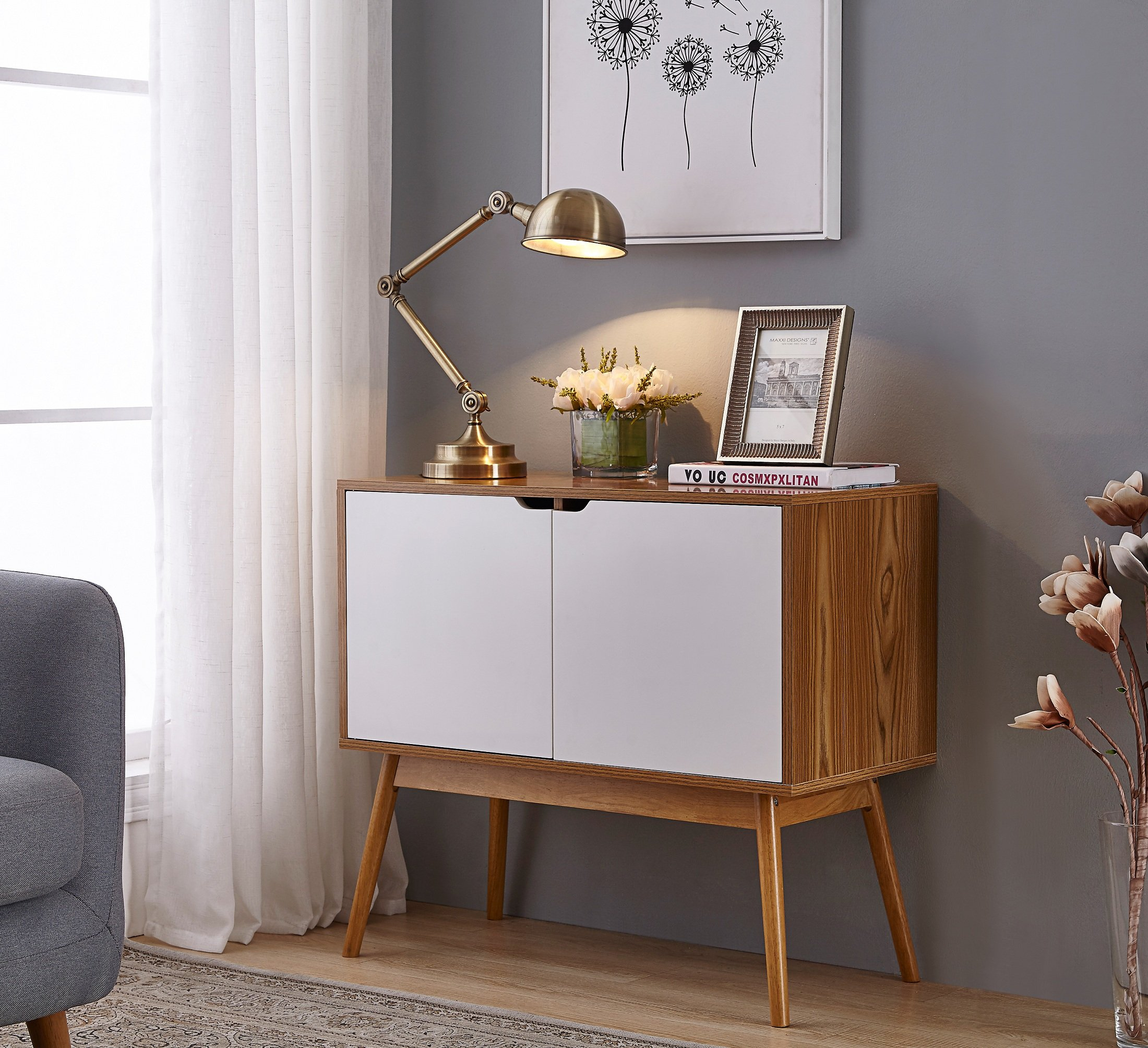 White/Woodgrain Mid-Century Style Console Sofa Table Storage Cabinet Sideboard with 2 Doors - Color: White and Woodgrain Material: Rubberwood, MDF Comes with 2 Doors to feature spacious space for storage - living-room-furniture, living-room, console-tables - 91OUhkOy0uL -